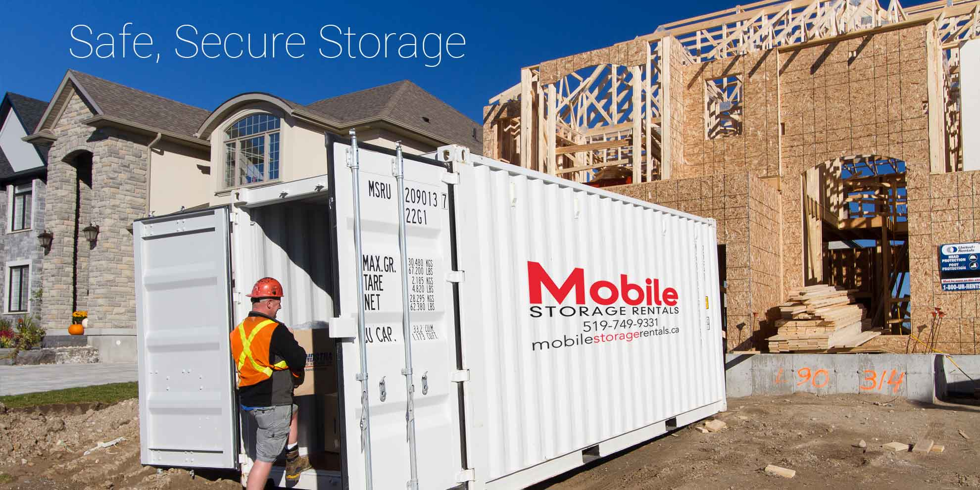 Storage container for construction site