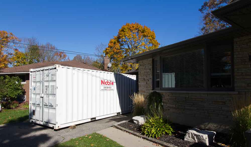 image of a storage container on a driveway in kitchener