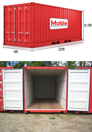 shipping container with doors open