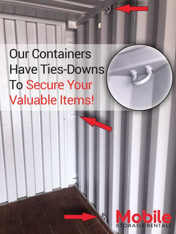 Storage container with tie downs
